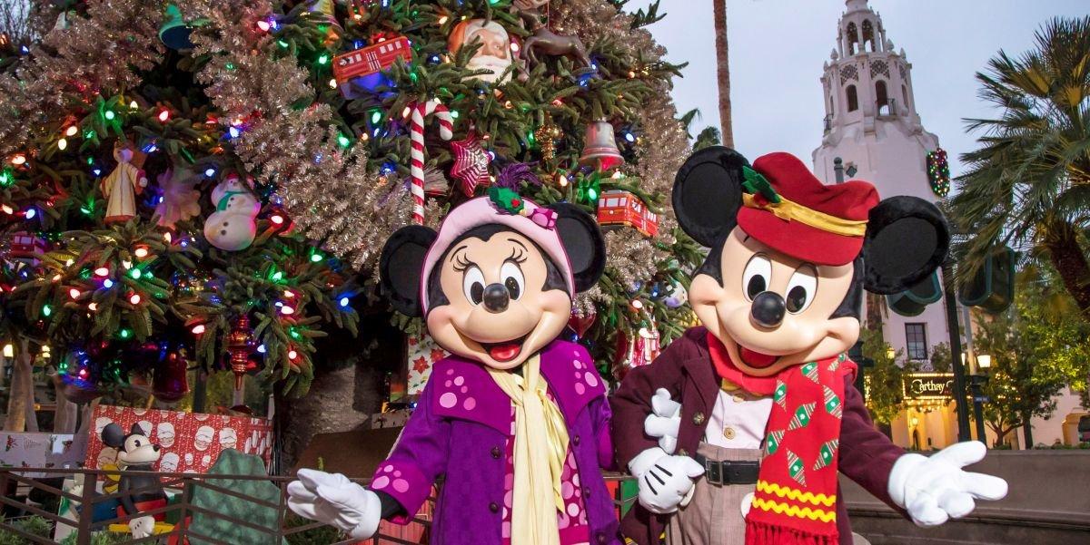 Mickey and Minnie at Disney California Adventure at Christmas