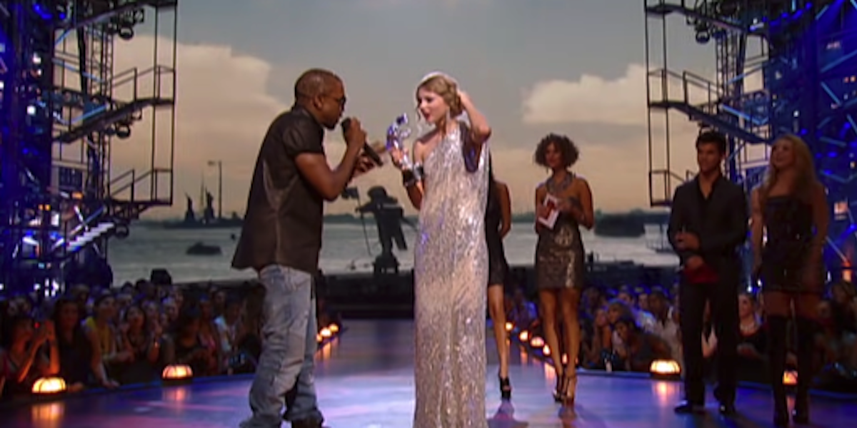 Kanye West and Taylor Swift during her VMA best music video acceptance speech