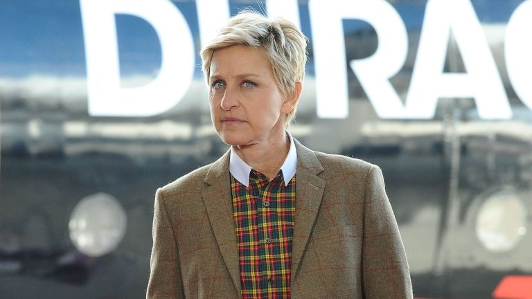 "Ellen DeGeneres kicks off the ""Power a Smile"" campaign at the Van Nuys Airport on November 22, 2013 in Van Nuys, California"