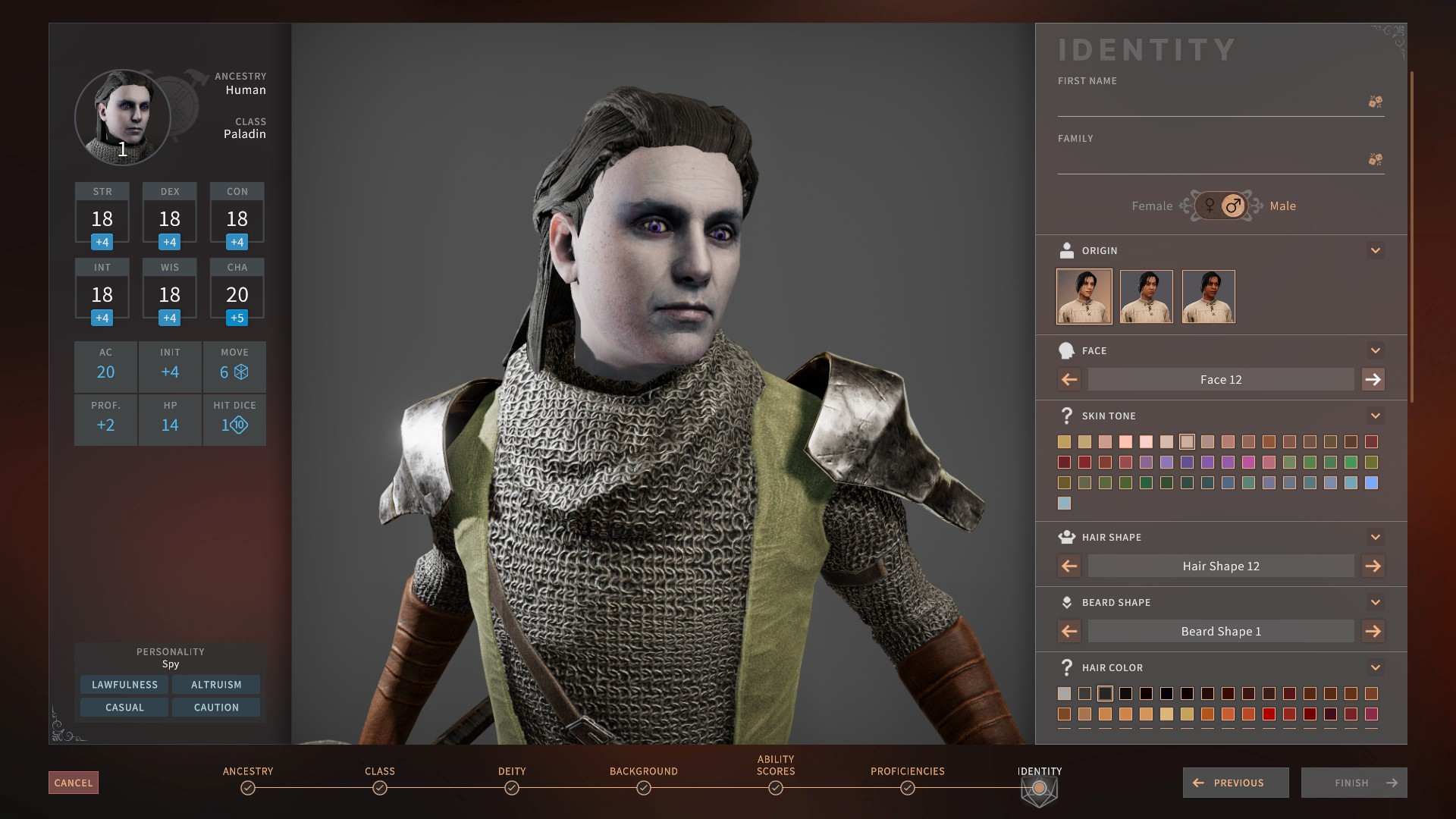 Choosing a gray face with the SolastaFaceUnlock mod