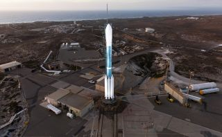 The United Launch Alliance Delta II rocket carrying the Joint Polar Satellite System 1 weather satellite stands atop its launchpad at Vandenberg Air Force Base in California. The satellite will launch Nov. 18, 2017.