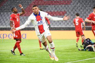 Kylian Mbappe celebrating his goal against Bayern Munich