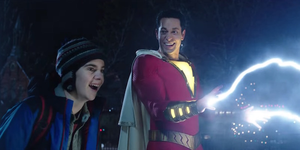 Shazam shooting lightning next to Freddie Freeman