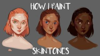 Three faces with different skin tones