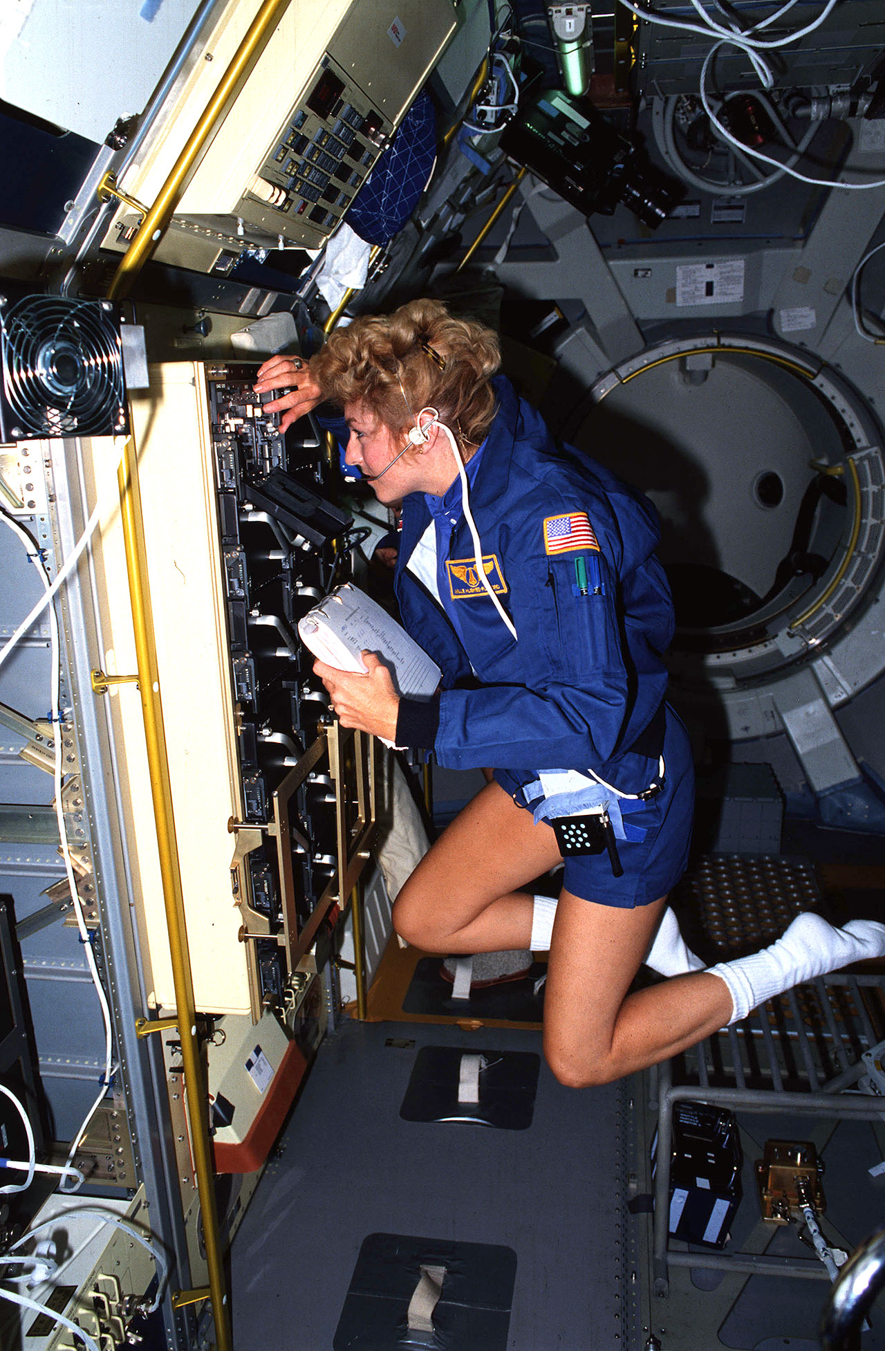 STS-40 payload specialist Millie Hughes-Fulford works inside the Space Life Sciences-1 (SLS-1) Spacelab module inside the space shuttle Columbia's payload bay in June 1991.