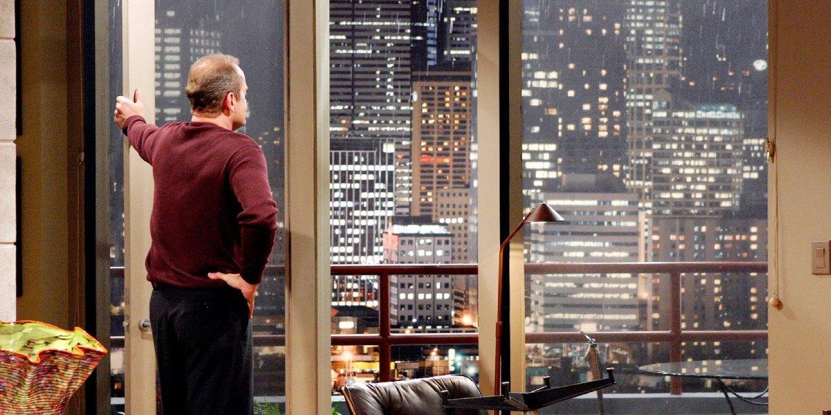 Kelsey Grammer as Frasier Crane overlooking Seattle on Frasier