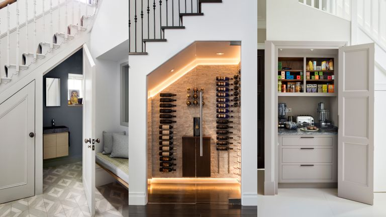 A composite of under stairs ideas