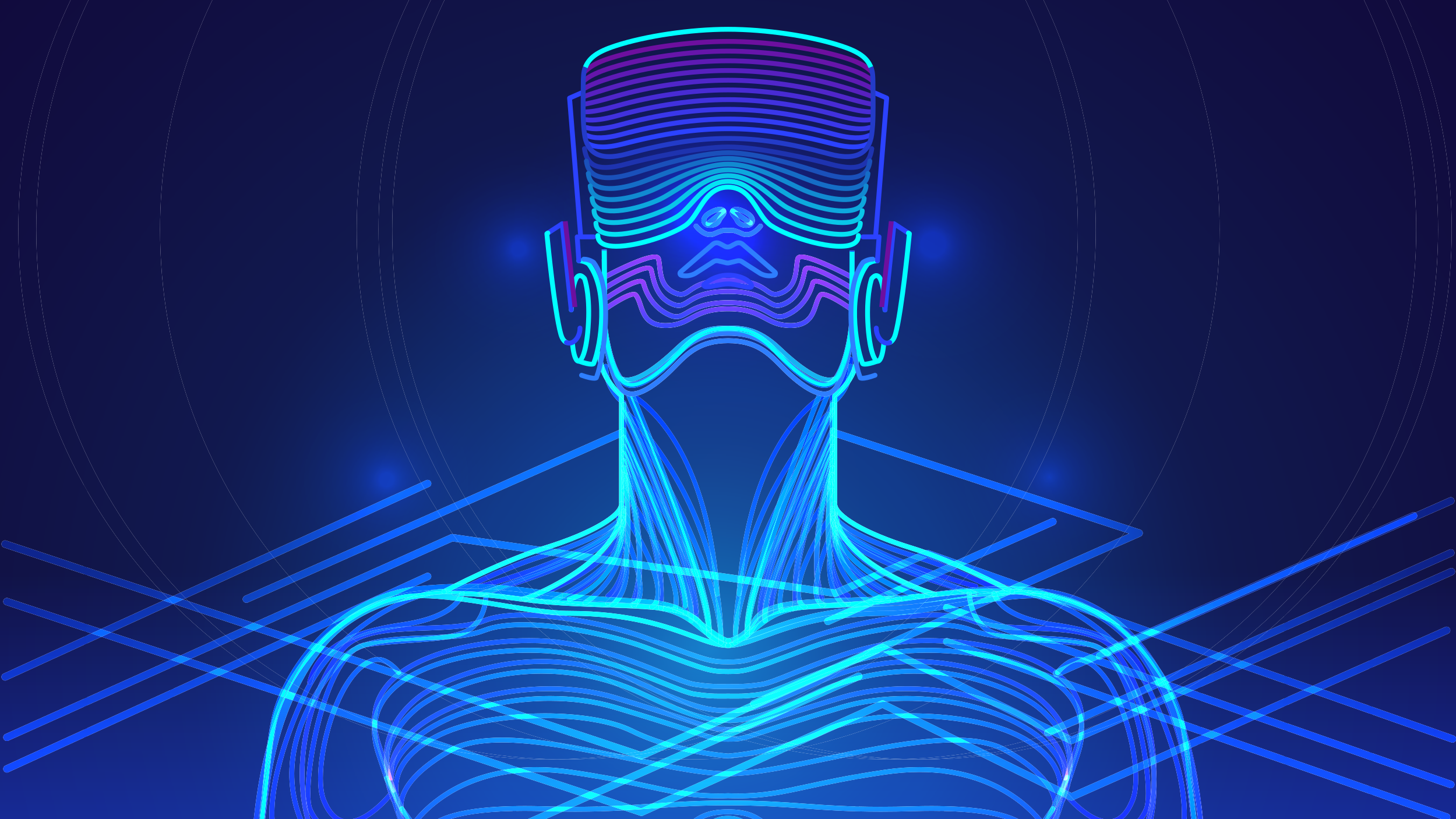 Image of a person wearing a VR headset surrounded by lines