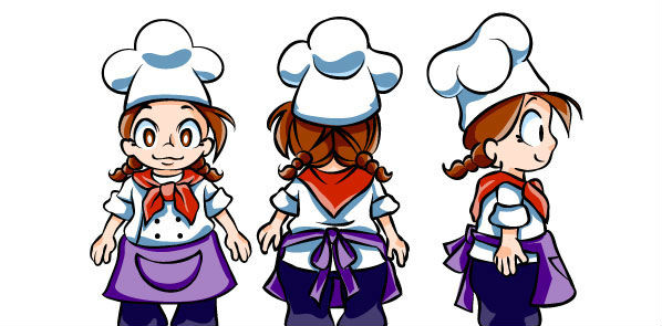 Comic drawings of young girl chef