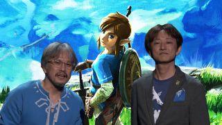Photo illustration showing Zelda producer Eiji Aonuma and director Hidemaro Fujibayashi standing with Link.