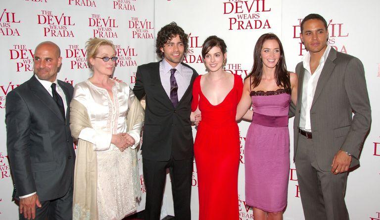 "Stanley Tucci, Meryl Streep, Adrian Grenier, Anne Hathaway, Emily Blunt and Daniel Sunjata (Cast of ""The Devil Wears Prada"")"