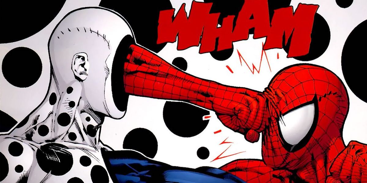 The Spot fighting Spider-Man