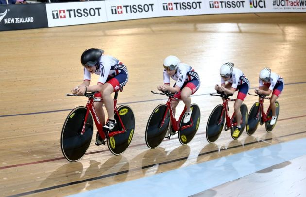 The GB Womens team pursuit at the New Zealand World Cup track event in 2015