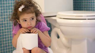 Little girl sitting on toilet.