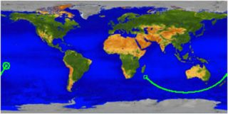 This map shows the ground track for UARS beginning in the Indian Ocean off the coast of Africa at 0330 GMT and ending at atmospheric interface over the Pacific Ocean at 0401 GMT.