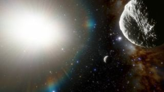 Artist's illustration of the newfound asteroid 2021 PH27 (foreground), which orbits the sun every 113 Earth days. That's faster than any other known solar system object except the planet Mercury (seen here below and to the left of 2021 PH27).
