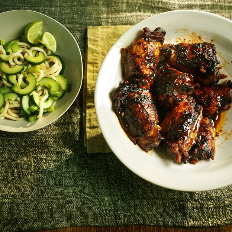 korean-style marinated chicken with noodles