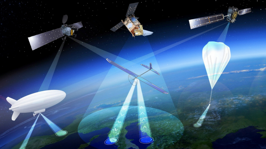 Graphic of a network of satellites