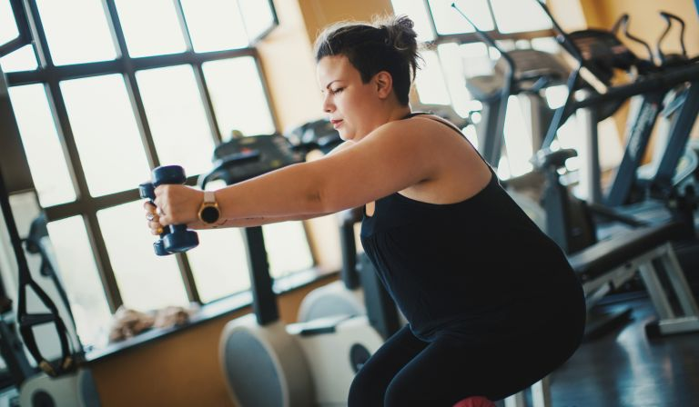 Person exercising in bid to lose weight