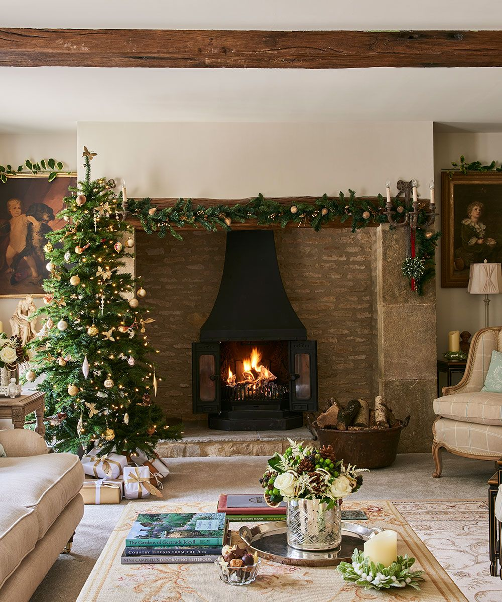 Step in to this festive 16th-century stone cottage in Wiltshire
