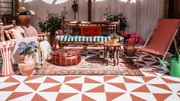 terracotta stencil patio makeover