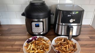 An Instant Pot Duo Crisp & air fryer with an Instant Vortex Plus on a kitchen countertop and plates of fries cooked in both appliances