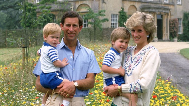 Princess Diana and Prince Charles with young Prince William and Prince Harry at Highgrove House in 1986