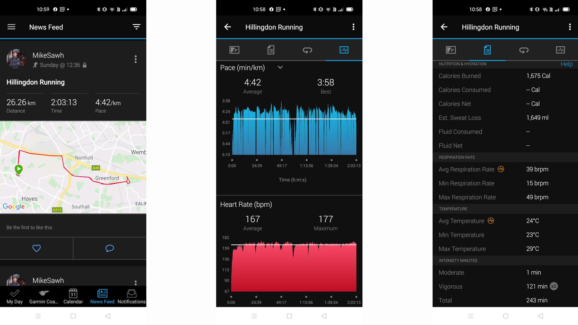 Garmin Connect app screenshots showing data collected by Garmin Enduro watch