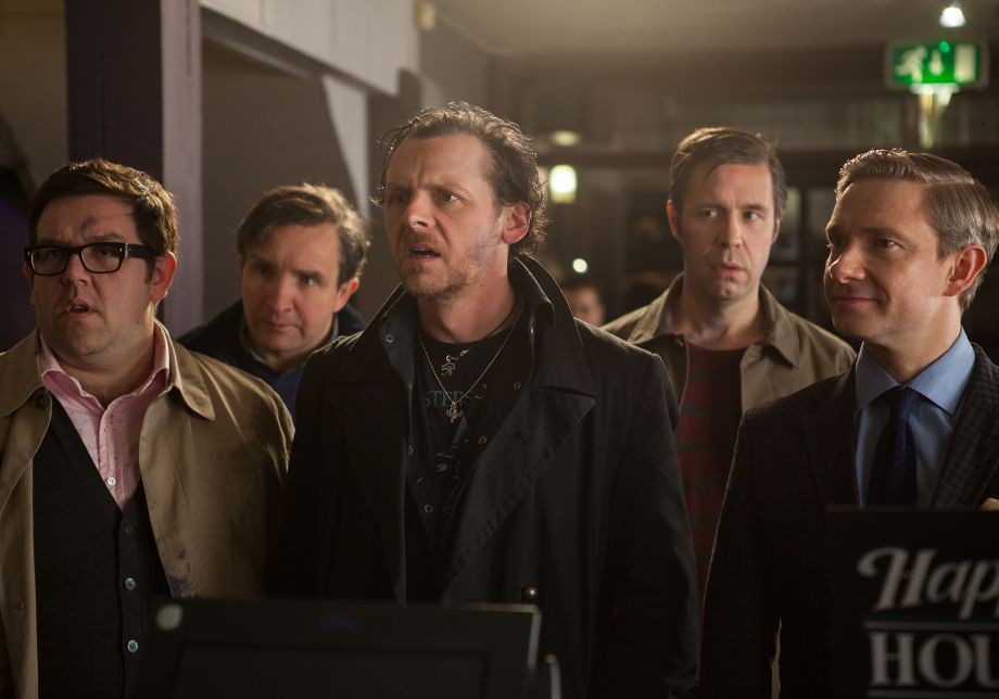 Nick Frost, Eddie Marsan, Simon Pegg, Paddy Considine and Martin Freeman stand in a group looking concerned.