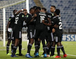 Orlando Pirates players celebrates during the Nedbank Cup Last 16