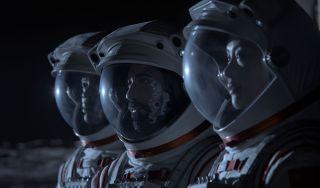 Ato Essandoh as Dr. Kwesi Weisberg-Abban, Ray Panthaki as Ram Arya, and Vivian Wu as Lu Wang in Netflix's 'Away'
