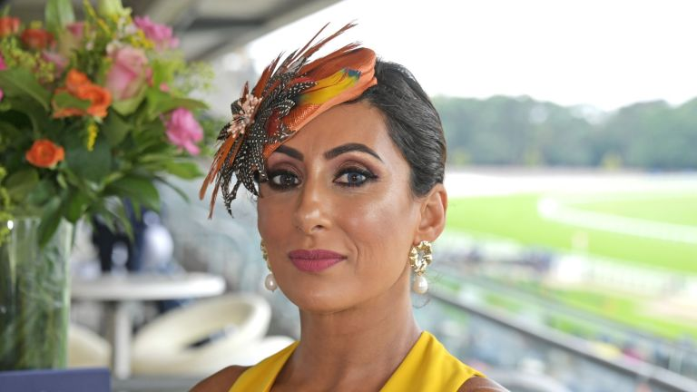 Former Loose Women panellist Saira Khan, attends the King George Weekend at Ascot Racecourse on July 27, 2019 in Ascot, England.