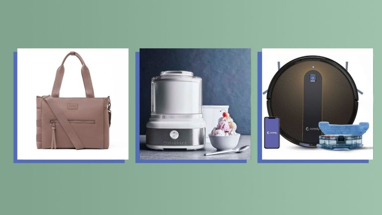 Three of the best Christmas gifts for parents 2021 from Dagne Dover, Cuisinart, and Coredy shown side-by-side