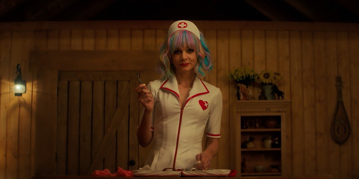 Carey Mulligan as nurse stripper at the end of Promising Young Woman
