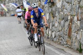 ALPE DI MERA VALSESIA ITALY MAY 28 Joao Almeida of Portugal and Team Deceuninck QuickStep Egan Arley Bernal Gomez of Colombia and Team INEOS Grenadiers Pink Leader Jersey in breakaway during the 104th Giro dItalia 2021 Stage 19 a 166km stage from Abbiategrasso to Alpe di Mera Valsesia 1531m Stage modified due to the tragic events on May the 23rd 2021 that involved the Mottarone Cableway UCIworldtour girodiitalia Giro on May 28 2021 in Alpe di Mera Valsesia Italy Photo by Tim de WaeleGetty Images