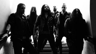 A photograph of Joey Jordison's new band Sinsaenum, including Dragonforce's Frederic Leclercq