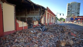 Debris from a collapsed wall litters the ground in Ponce, Puerto Rico following the Jan. 7 earthquake.