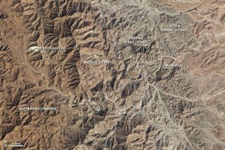 mountains from space, oman mountains, earth's crust exposed, ophiolite, earth's interior, nasa satellite images