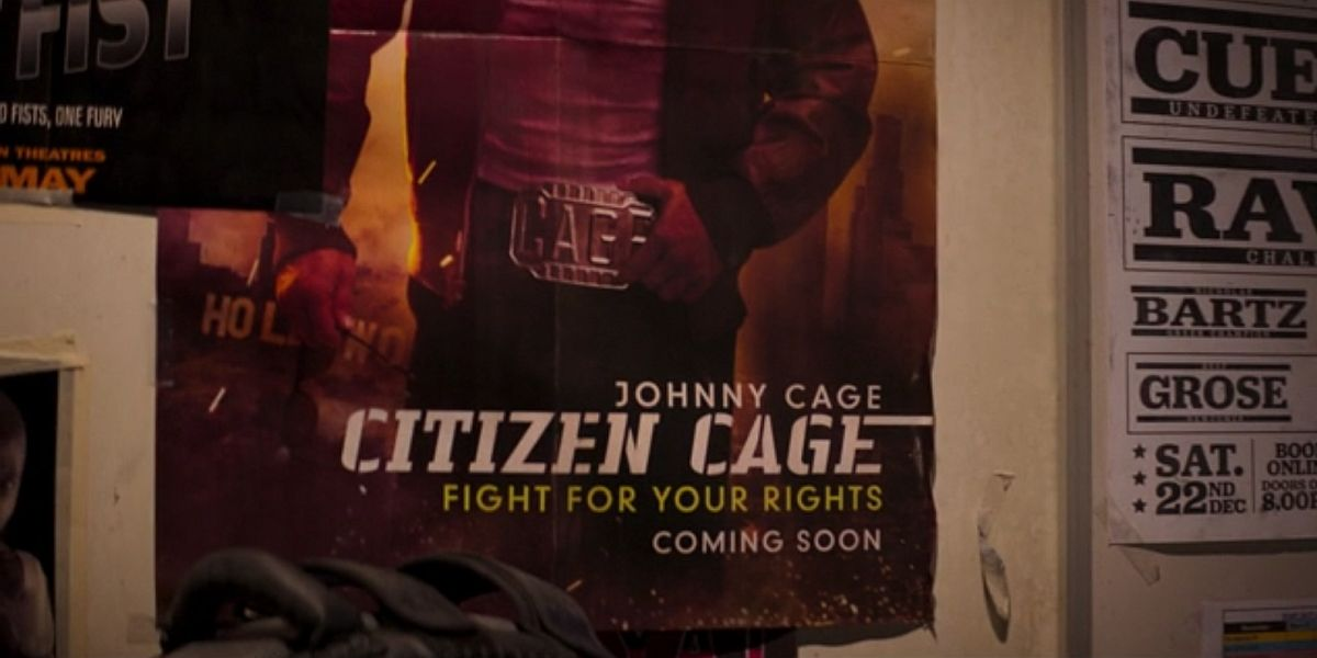 Johnny Cage poster sits on the wall in Mortal Kombat (2021)