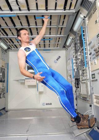 "This high-tech ""skinsuit"" for astronauts is a tailor-made overall with a bi-directional weave specially designed to counteract the lack of gravity to help avoid backaches."