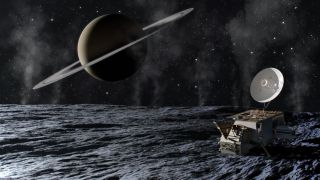 An artist's depiction of the Enceladus Orbilander mission concept.