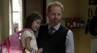 Modern Family toddler Lily and father Mitchell.