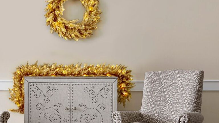 Martha Stewart gold Christmas decorations for Wayfair