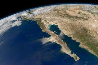 Baja California is seen under clear skies in this image taken by NASA's Aqua satellite on Nov. 27, 2011.
