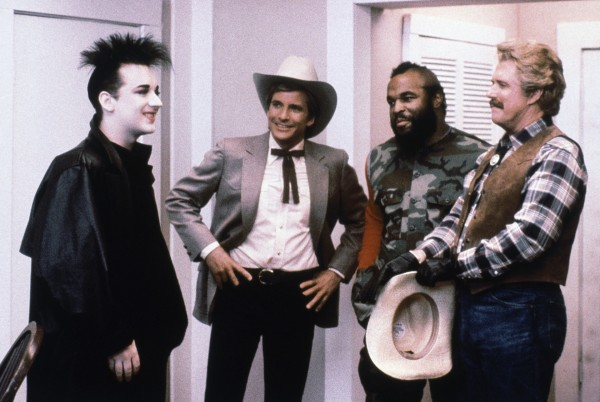 Boy George, Dirk Benedict, Mr T and George Peppard in The A-Team