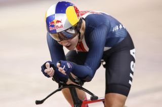 The USA's Chloe Dygert on her way to the gold medal – and the rainbow jersey – in the women's individual pursuit at the 2020 UCI Track World Championships in Berlin, Germany