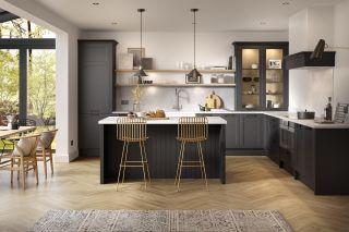 a kitchen flooring idea with herribgone wood floor