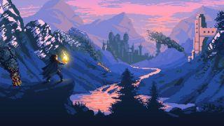 A fantasy adventurer looks out over a mountainous landscape