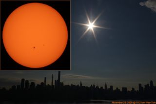 Alexander Krivenyshev, president of WorldTimeZone.com, captured these shots of the sun over New York City from New Jersey on Nov. 28, 2020, using a Canon EOS7D camera. The closeup of the sun, taken with the aid of a solar filter, shows the sunspots AR2786 and AR2785.