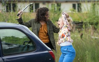 Pretending she is going to the police Mel gets Bethany Platt to accompany her to the station but instead stops the car by some railway tracks and grabs her by the hair dragging her towards the tracks in Coronation Street.